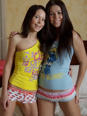 Two cute brunettes fucking with toys on the bed