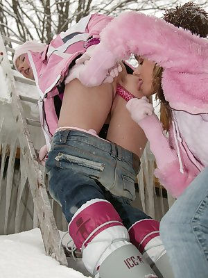 Naughty lesbians muff diving in the snow and ice