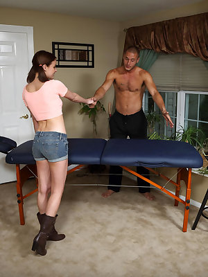 Jasmine Wolff's sexy pigtails and cowgirl boots catch the eye of her masseuse Danny as he massages her soft, supple mounds with oil before treating to his collection of high powered tools