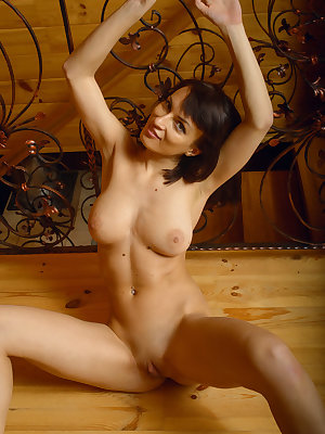 Olesya D sensually poses in the cabin as she bares her luscious body.