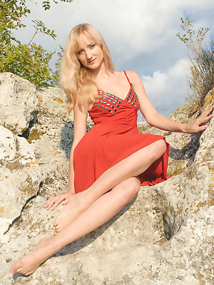 Zemira A strips off her red dress and basks naked under the sun