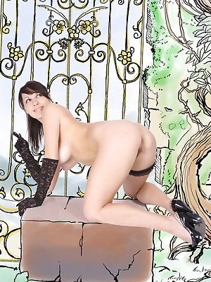 Denise A shows off her meaty ass, puffy tits and unshaven pussy as she poses in   front of the camera.