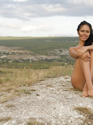 With a majestic view as a backdrop, Jubia flaunts her luscious nubile body with uninhibited, erotic poses.