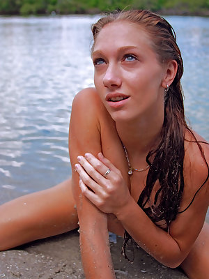 With her gorgeous wet body, Angeli dips on the river and flaunts her best asset throughout the series.
