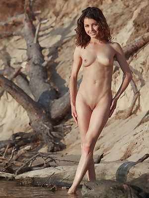 Divina showcases her stunning beauty and beautiful smile, pretty eyes, great abs and perfect body as she poses eroticaly on the sand outdoors, it's no wonder she is chosen as one of MetArt's Top 10 models.