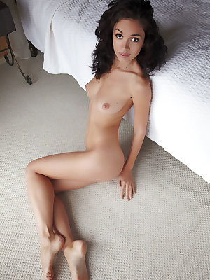 Karen shamelessly bares her gorgeous, slender body with amazing puffy breasts and tight   butt all over the bedroom floor.
