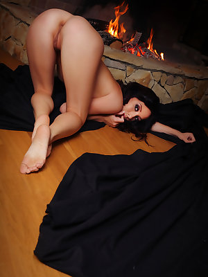 Lovely Night lounges in front of the fireplace