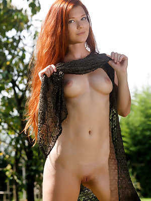 Mia Sollis shows off her sexy ass and sweet pussy outdoors.