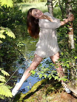 Foxy Salt leads us a to clearing in the forest to show off her pink, succulent snatch