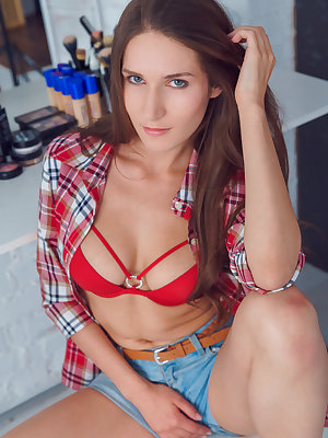 Blue-eyed hottie Elina poses im her red plaid longsleeves, matching underwear and skimpy denim shorts