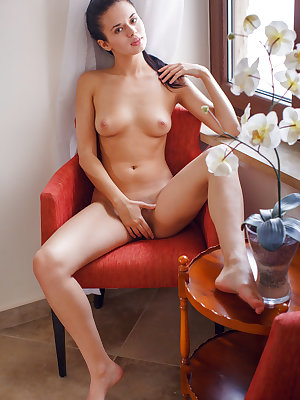 Carmen Summer smiles seductively as she slowly reveals her puffy breasts and shaved pussy