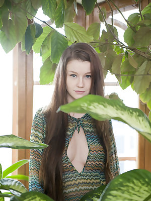 Blue-eyed cutie with innocent face and petite body Emily Bloom teasing and seducing without any hint of inhibition