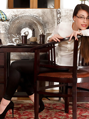 Beauty, brains and Lorena B, looking stunning in her black leggings, white blouse and black stilettos. Add some glasses to the mix and you get the sexy executive who is ready for some hot, naughty fun in her office.  On top of the desk naked and spread, i