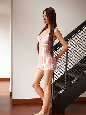 Paula Shy may look shy as she casually leans against the staircase in her transparent, soft pink gown.  Look again as she begins to caress her breast and her hands slips down between her legs.  Uninhibited, she spreads her smooth, meaty pink lips and enjo