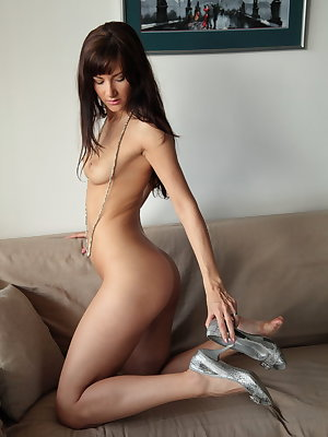 Blue-eyed babe Luce A spreads her legs wide open and give her juicy pussy a stimulating finger fuck.