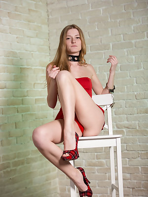 Chova takes off her sexy red dress with matching panties