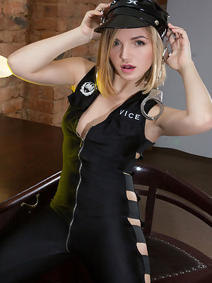 Jenny A strips while being handcuffed as she plays with wet, pink pussy.