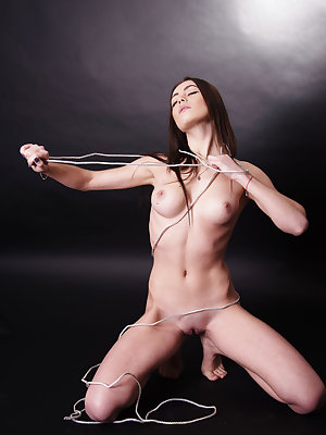 Newcomer Katia B escaped from being tied up as she masturbates her sweet pussy.