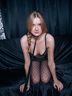 Bree Haze erotically poses with on her black   lingerie as she masturbates her wet pussy.