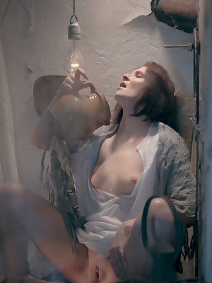 Andrea P bares her lusty, sweaty body as she plays with her yummy pussy with milk.