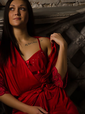 Nistia, strips off her dress red dress and spreads her legs wide open.