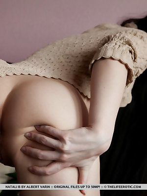 Natali B's beautiful blue eyes full of lust, long slender body sprawled wide open and ready for some loving