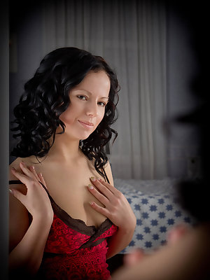Busty babe Viktoria with evocative emotions arousing every sense, quivering with longing to fondle her lusciously perky boobs and masturbates her delectable pussy.