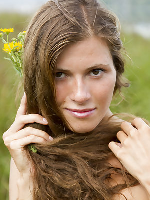 Warm day, green grass caressing passionate skin, wild flowers all around. Extra sweet blonde giving herself a needed freedom.