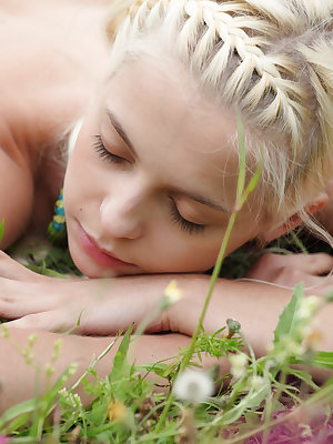 Slender and flexible teen blonde poses naked in the field spreading her gorgeous legs wide.