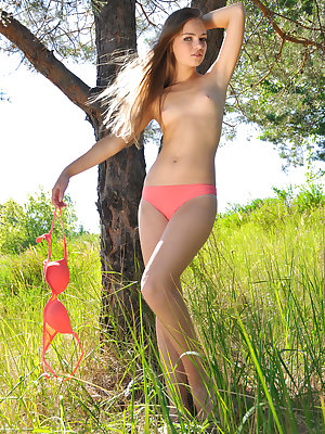 Teen sweetheart with long hair and petite all natural body strips and poses naked outside.