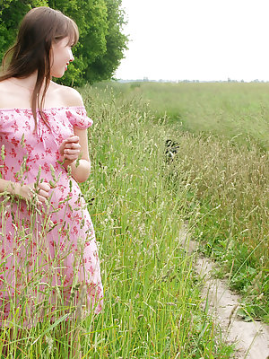 A red shawl and green beautiful nature make virgin teens appearance so amazing…
