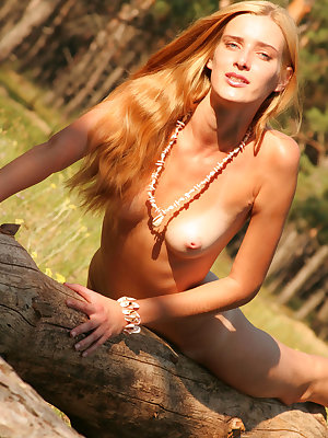 It is impossible not to feast ones eyes on this astounding nude honey when she id wandering in green coniferous forest.