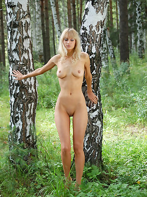 This staggering angel set her mind to go alone in the forest and take some photos of her nude treasures near white birches.