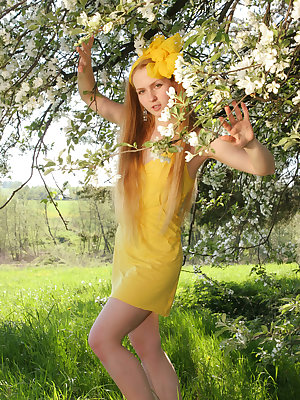 Staggering unbelievably thrilling teen has a burning desire to demonstrate her nude body in green field among dandelions.