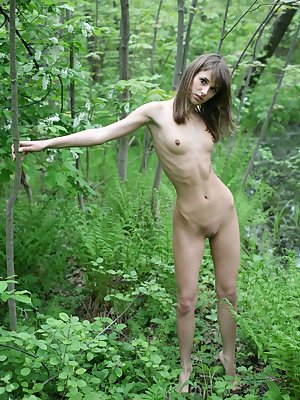 Slim cute girl with beautiful small breasts posing absolutely naked in forest