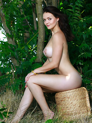 Amazing brunette showing off her perfectly round breasts in the wild as she does all kinds of sexy poses.