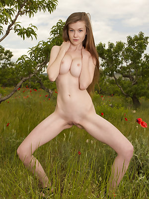 Very stretchy big breasted lovely girlfriend likes to show all her assets while posing nude in wilderness on the sunset.