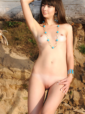 Adorable dark haired honey taking off dress and demonstrating perfect body on the seaside.