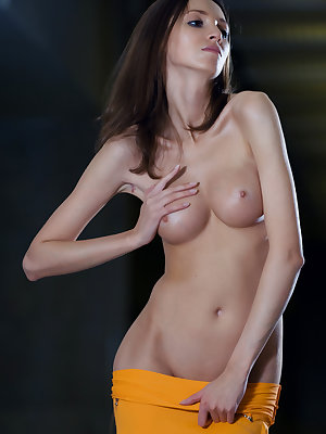 Yummy girl with a slender figure and long legs strips naked revealing her tits and pussy.