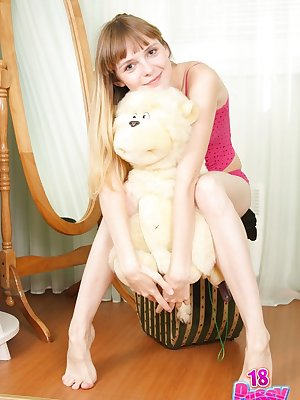 orgeous blonde lass named Dee likes to expose her seductive beaver and awesome sweet tight ass.
