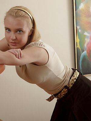 Adorable long haired shapely blonde teen charmer hardcored and creamed after the massage.