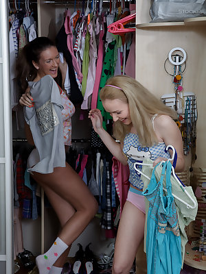 Two admirable teen honeys take turns in getting all their holes probed with a hard dick.