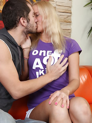 Pretty blonde with a nice petite body rides a huge cock and gets a mouthful of fresh cum.