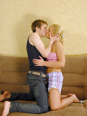 Lustful man easily undresses teen blonde to fuck not only her wet mouth but pussy as well.
