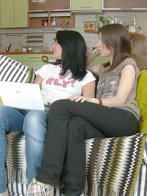 Two gorgeous dark haired teen cuties with perfect bodies in anal FFM hardcore action on sofa.