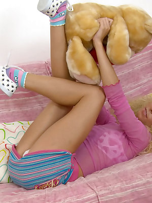 Lustful teen blonde gives a hot blowjob and gets her pussy fucked with a toy and a cock.