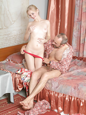Very nasty old man with pierced penis sticks his fat cock deep inside cute babes creamy tight pussy