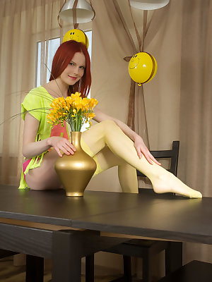 Hot teen babe teases and poses in her sexy yellow nylon stockings before fingering her sweet wet pussy.