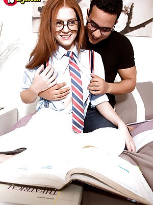Glasses topped redheaded babe Alice Green having shaved cunt licked out