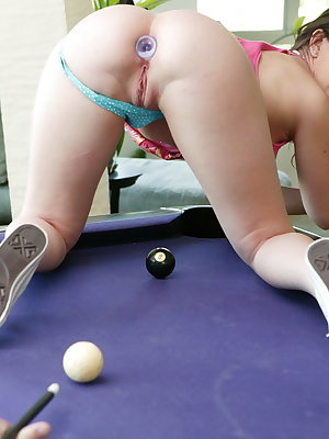 Busty BDSM MILF Jennifer White gets tortured and analized at the pool table